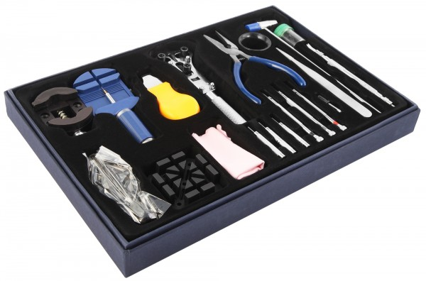 20- teiliges Uhrmacherwerkzeugset für den Uhrenservice, sortiert im Kasten