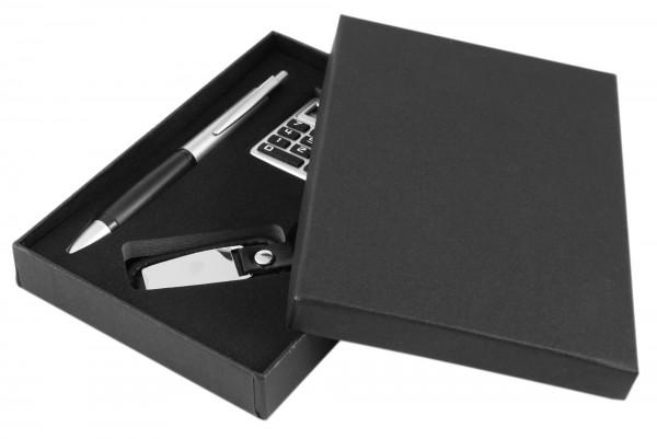 Uhrenset / Geschenkset bestehend aus Kugelschreiber, Taschenrechner und Schlüsselanhänger