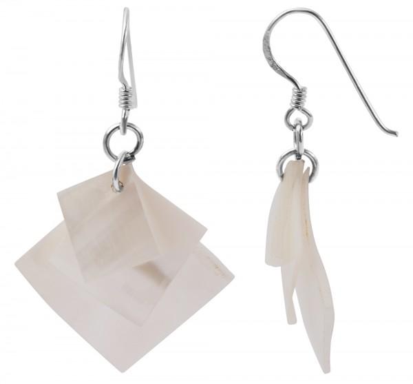 925 Echt Silber Ohrhänger mit Perlmuttelementen