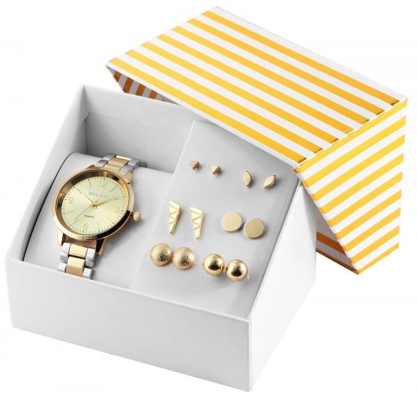 Excellanc Uhrenset / Geschenkset Damenuhr mit Metallband in Kombination mit unterschiedlichen Ohrste