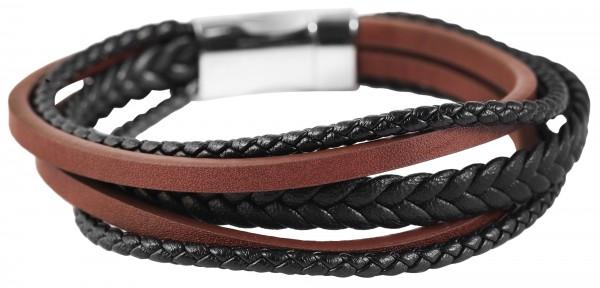 Akzent Armband aus Echt Leder und Edelstahl, 21,5 cm