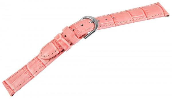 Basic Echtleder Armband in rosa, Kroko, gepolstert