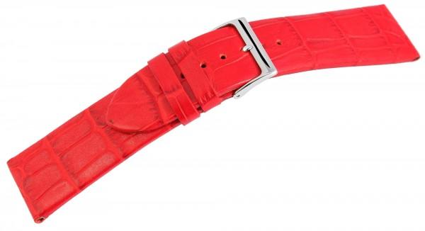 Echtleder-Uhrenarmband, rot, Krokooptik, 16 mm - 26 mm