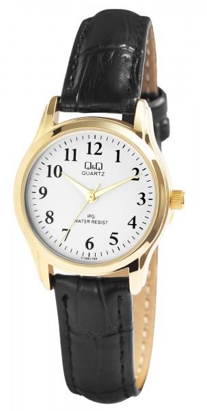 Q&Q Damenuhr mit Lederimitationsarmband in schwarz/goldfarben