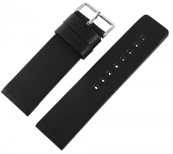 Echtleder-Uhrenarmband, schwarz/braun, 26 mm