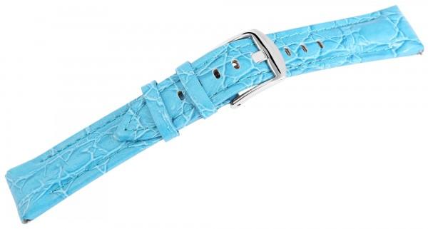 Echtleder Ersatzarmband, blau ,gepolstert, Dornschließe