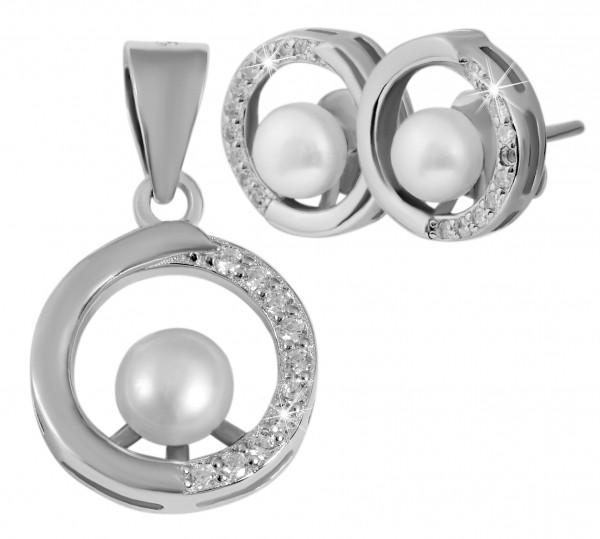 925 Silber Perlen Schmuckset Anhänger, Ohrstecker rund mit Zirkonia