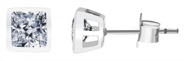 925/- Echt Silber Ohrstecker, quadratischer Zirkoniastein