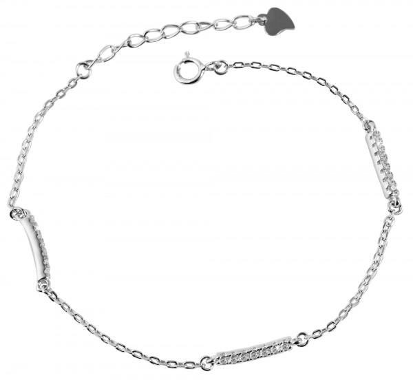 925 Silber Armband, 17+3cm, 925/rhodiniert, 2,1g