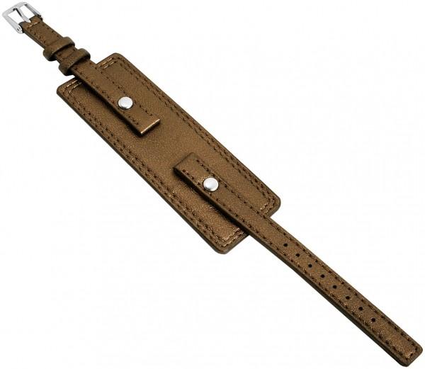 Basic Echtleder Armband in bronze, glatt, flach, 10 mm
