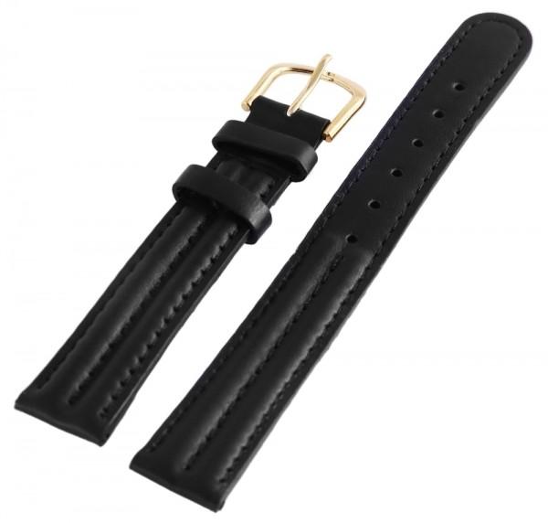 Basic Echtleder Armband in schwarz, glatt, gepolstert, 16 mm