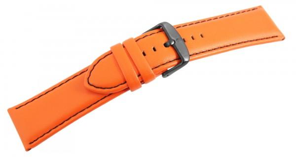 Echtleder Ersatzarmband, orange, schwarze Naht, Dornschließe