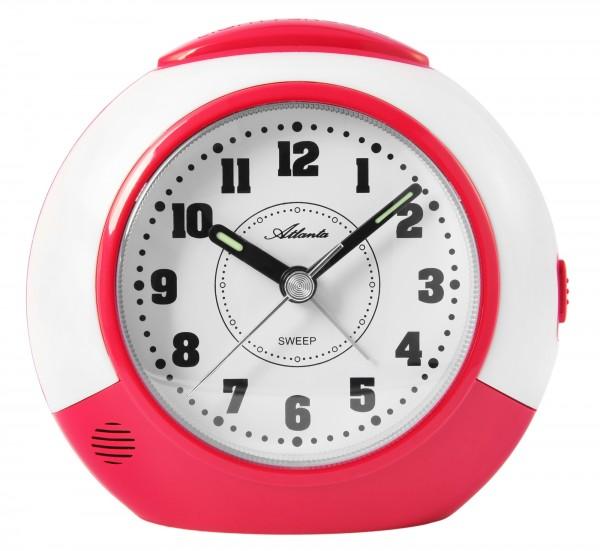 Wecker, pink/weiß, Quartz, schleichende Sekunde, Repetition, Beep-Alarm