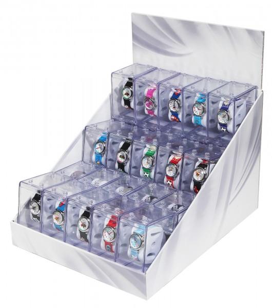 25 Kinderuhren in Geschenkbox im Display