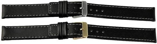 Echtleder-Uhrenarmbänder, schwarz, weiße Naht, VE 12, 10 mm / 16 mm