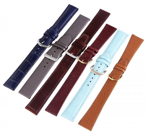 Echtleder-Uhrenarmbänder, verschiedene Farben, 18 mm, VE12