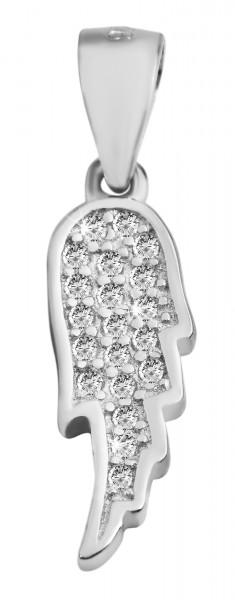 925 Echt Silber Anhänger ohne Kette, Flügel mit Zirkoniabesatz, 925/rhodiniert