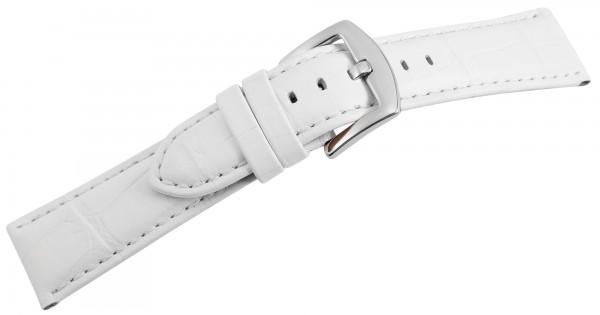 Echtleder-Uhrenarmband, weiß, Krokooptik, 22 mm