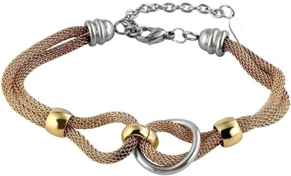 Akzent Geflochtenes Armband aus Edelstahl in goldfarbig mit IP Roségold-Beschichtung