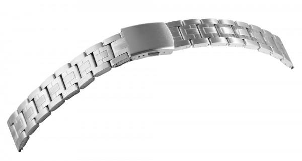 Gliederband Edelstahl Armband in silber, gebürstet, flach