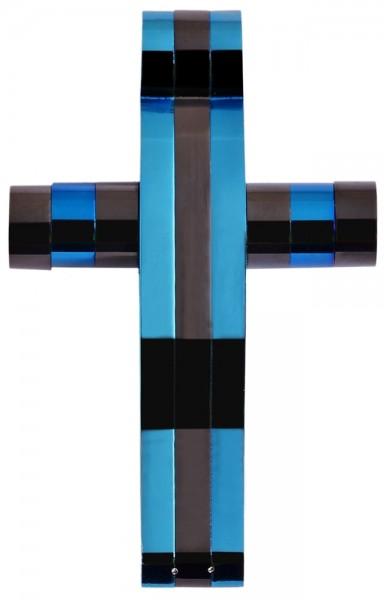 Akzent Kreuz Edelstahlanhänger mit IP Beschichtung in Blau und Schwarz