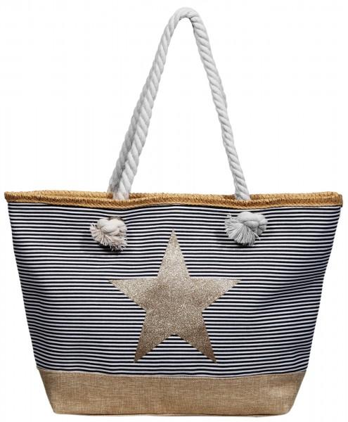 Damen Handtasche aus Textil mit Stern Motiv, Maße: 49 x 34 x 13,5 cm
