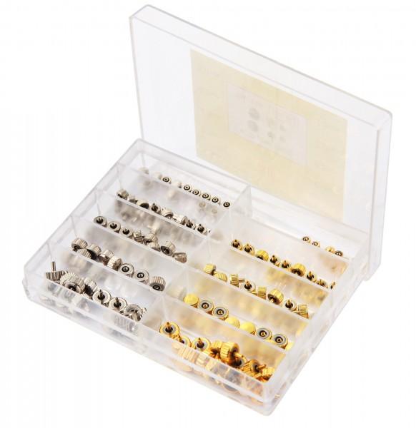 Uhrenkronensortiment Edelstahl, silber- und goldfarben