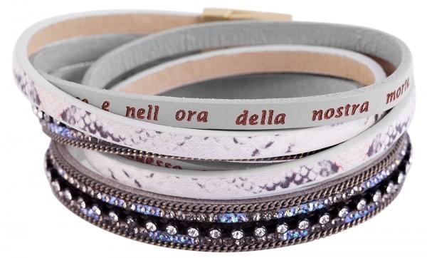 Wickelarmband aus Lederimitat und Kunststoff in Mehrfarbig