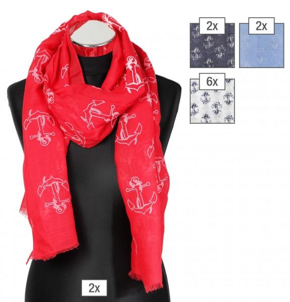 Schalpaket farblich sortiert, 100% Polyester, 70x180cm, VE 12, jeder Schal verkaufsfertig mit Bügel