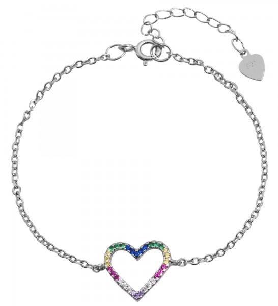 925 Echt Silber Armband mit Herzelement, bunter Zirkoniabesatz, 925/rhodiniert