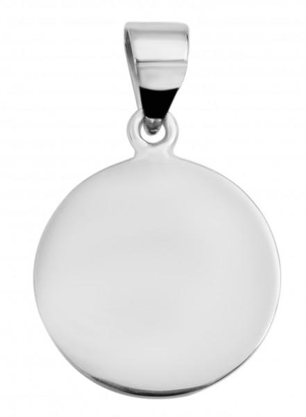 925 Echt Silber Gravuranhänger ohne Kette, rund, 925/rhodiniert