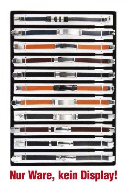 """Shaghafi 11 Armbänder Leder """"Mix Herren 5"""" im Display"""