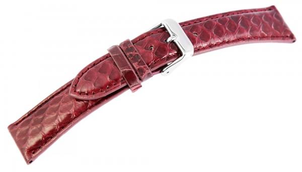 Echtleder Ersatzarmband, bordeaux rot, rote Naht, Dornschließe