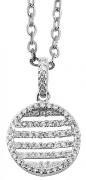 925 Echt Silber Anhänger ohne Kette, Rund mit Zirkoniabesatz, 925/rhodiniert