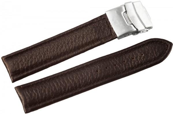 Basic Echtleder Armband, braun, gepolstert, genäht, Faltschließe