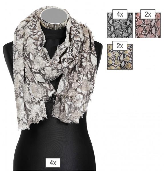 Schalpaket farblich sortiert, 30% Cotton 70% Polyester, 90x180cm, VE 12, jeder Schal verkaufsfertig