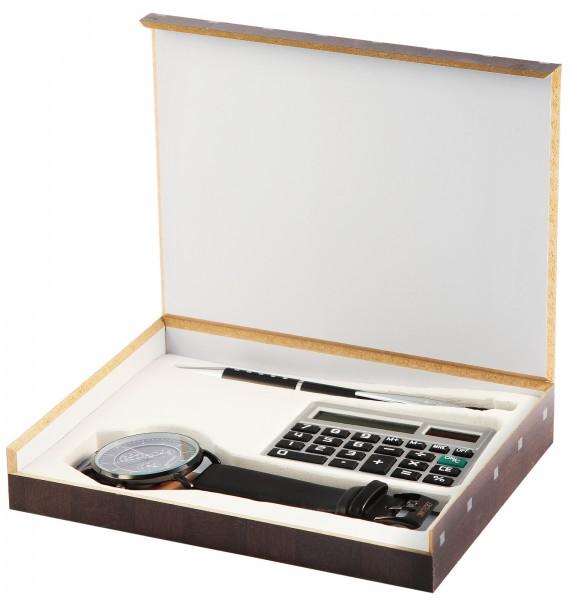 Excellanc Herrenuhr mit Geschenkeset mit Taschenrechner und Kugelschreiber