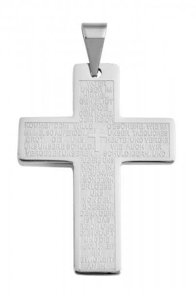 Akzent Edelstahlanhänger, Kreuz mit Vaterunser, silberfarbig