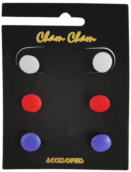 Cham Cham Ohrstecker, Mehrfarbig, VE 3 Stück