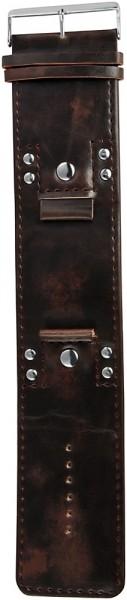 Lederimitation-Uhrenarmband, dunkelbraun, Nieten, 22 mm