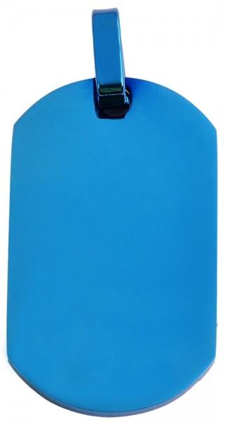 Akzent Edelstahl Gravuranhänger in Blau, IP Beschichtung, Länge: 37 mm / Breite: 22 mm / Stärke: 2 m