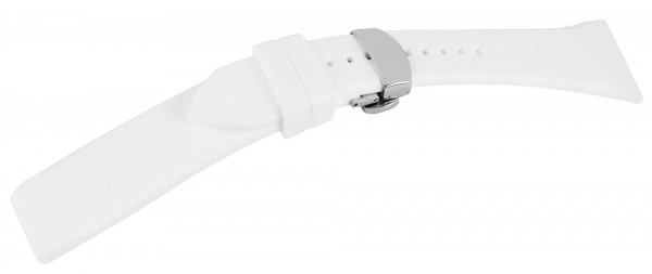 Kautschuk-Uhrenarmband, weiß, Butterfly-Faltschließe, 18 mm - 22 mm