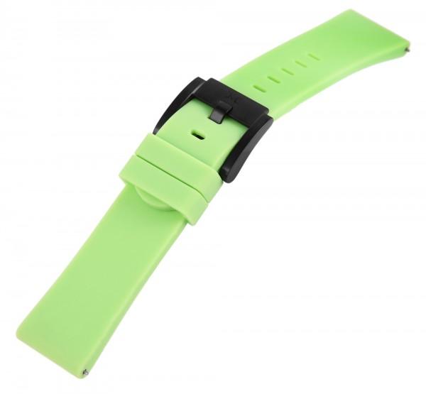 TW Steel Silikonband, 22 mm, hellgrün, schwarze Schließe