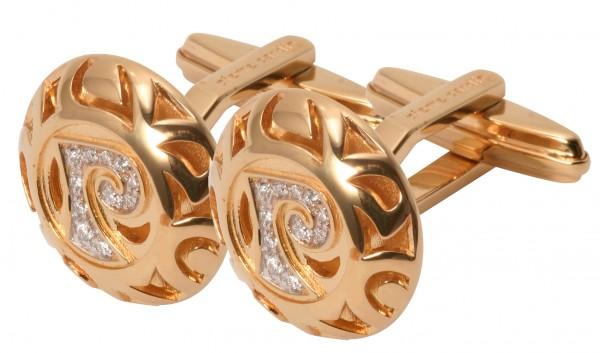 Pierre Cardin Edelstahl Manschettenknöpfe, IP Gold beschichtet, mit Zirkonia Steinen, 20 mm, UVP 17