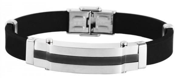 Akzent Kautschuk Armband mit Edelstahlemenenten, silber farbig, IP Black beschichtet, Breite 12 mm,