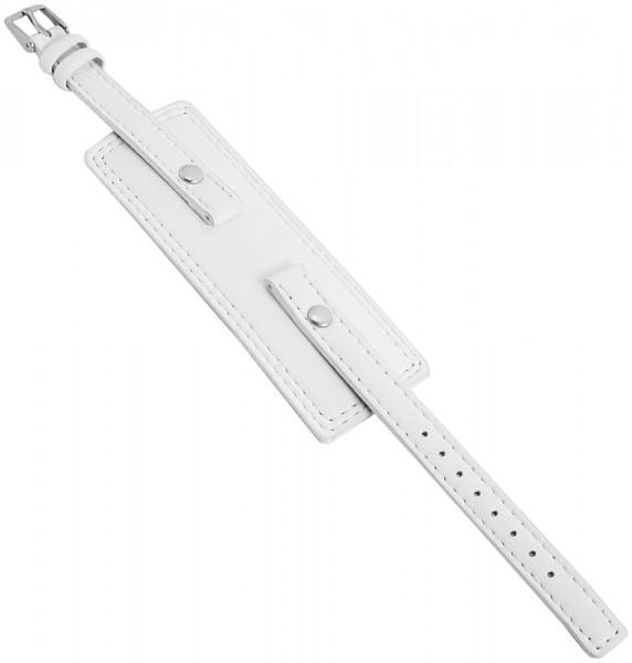 Basic Echtleder Armband in weiss, glatt, flach, 10 mm