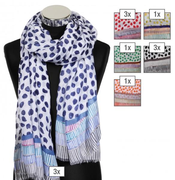 Schalpaket farblich sortiert, 100% Polyester, 43x180cm, VE 12, jeder Schal verkaufsfertig mit Bügel