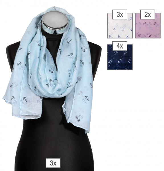 Schalpaket farblich sortiert, 100% Polyester, 60x170cm, VE 12, jeder Schal verkaufsfertig mit Bügel