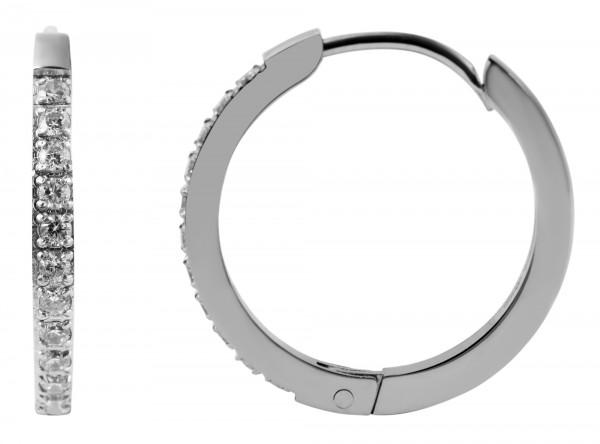 Akzent Edelstahl Creolen, silberfarbig, Durchmesser: 20 mm / Stärke: 2 mm