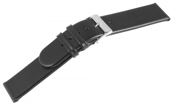 Echtleder-Uhrenarmband, schwarz, 20 mm